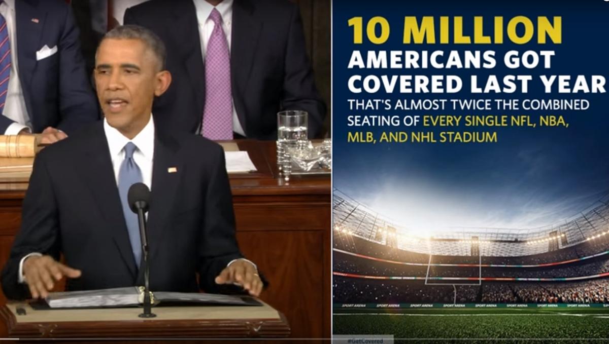 Delt skjerm: Nettversjonen av Obamas State of the Union-tale i 2015.