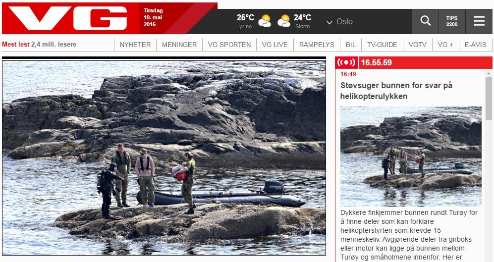 Nynorskfri sone. Skjermbilde av forsida på vg.no 10. mai 2016.