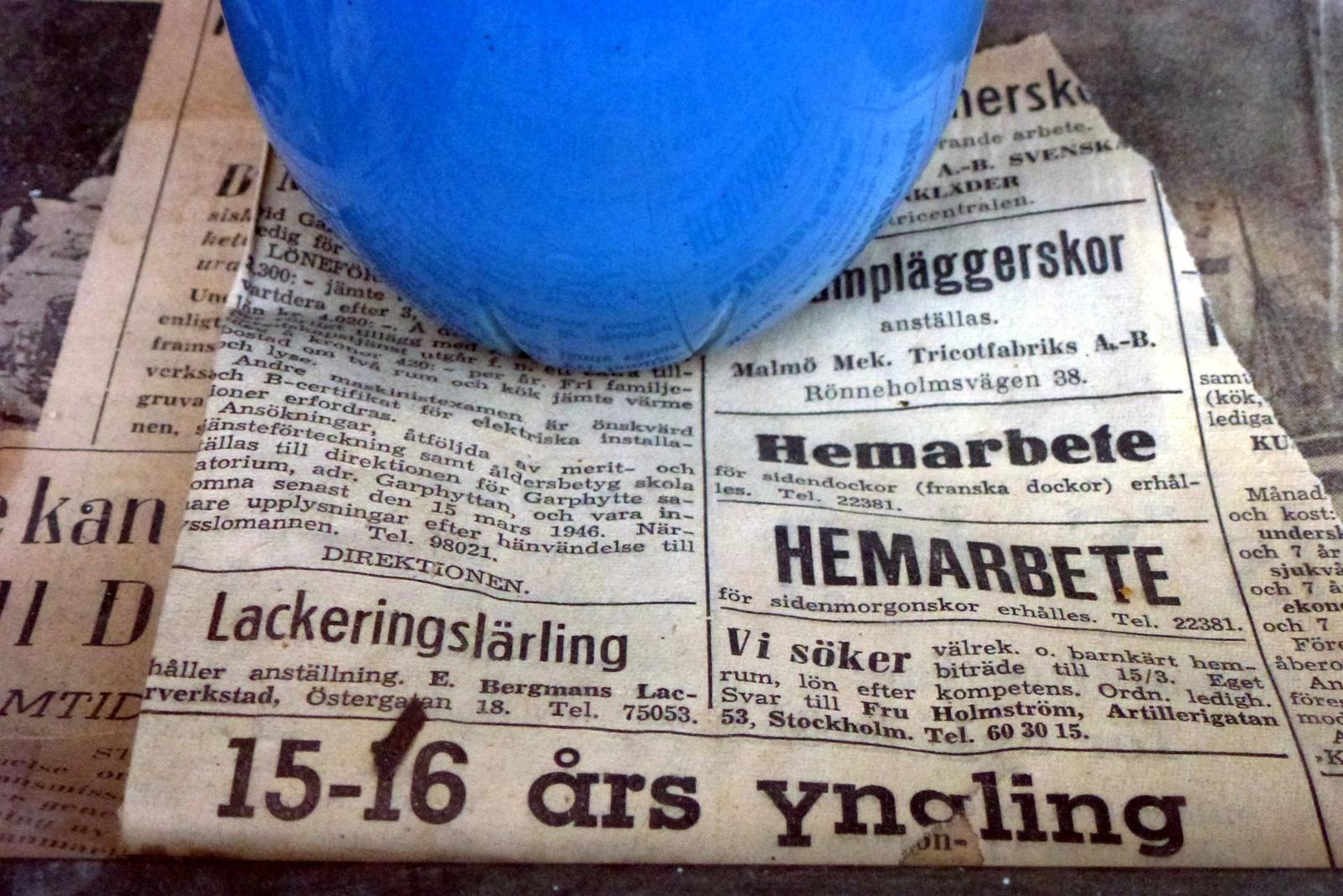 """Avisenes levebrød. Annonser i """"Arbetet"""", 1946."""