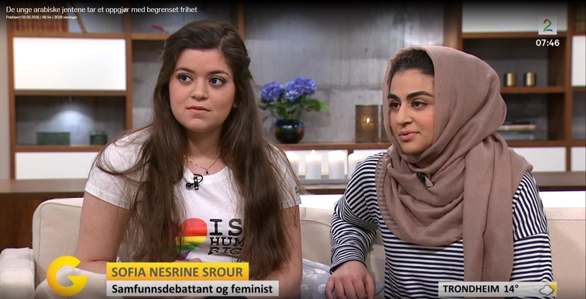 Ut i offentligheten: Nancy Herz og Sofia Nesrine Srour i intervju på TV 2. (skjermbilde fra tv2.no).