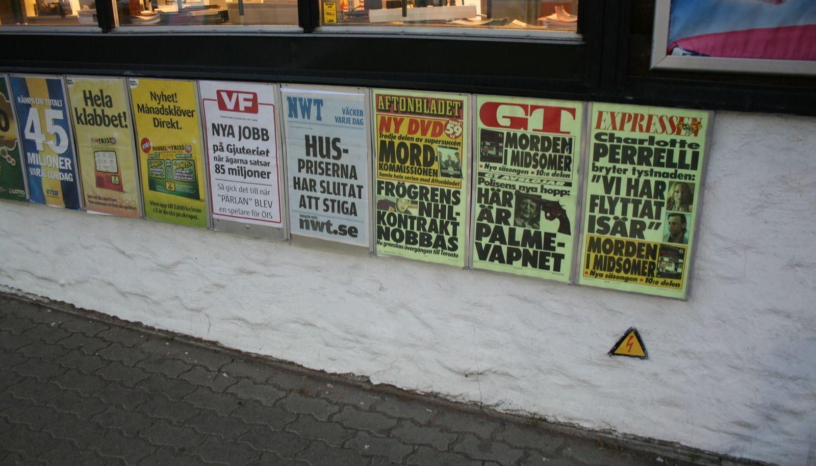 Siste nytt? Et knippe svenske avisforsider.
