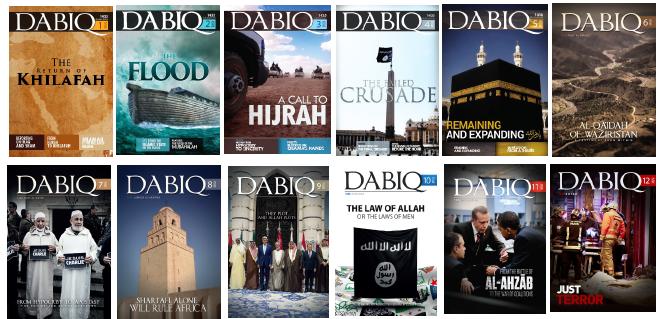 Et utvalg forsider av IS-magasinet Dabiq.