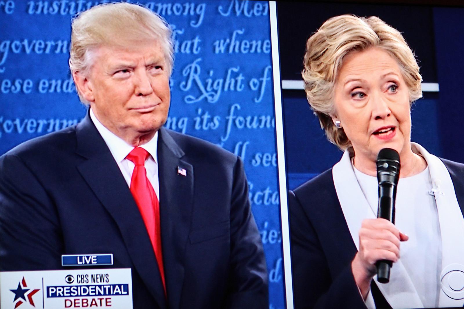 Fra den andre debatten mellom Trump og Clinton 9. oktober 2016 (skjermbilde).