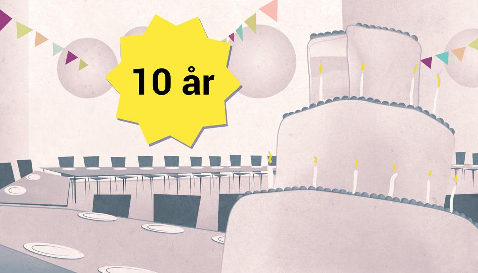 Vox Publica ti år. (illustrasjon: Håvard Legreid)