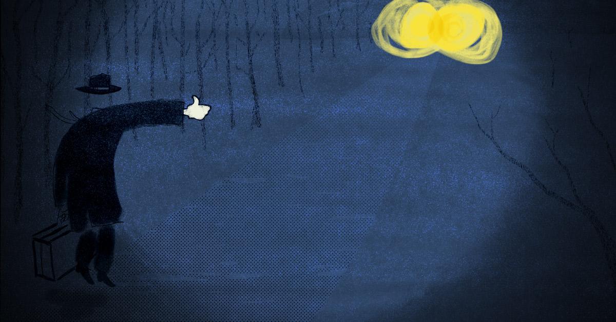 Mediene og Facebook. En av Håvard Legreids illustrasjoner til artikkelserien.